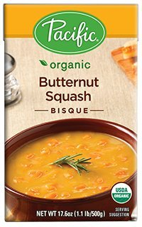 Pacific Foods Organic Butternut Squash Bisque, 17.6-Ounce Cartons, 12-Pack