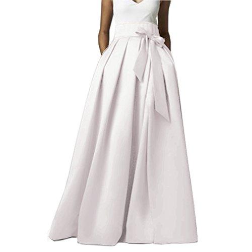 Omelas Womens Long Floor Length Pleated Skirt High Waisted Maxi A-Line Party Evening Dress (Ivory Pleated Skirt)