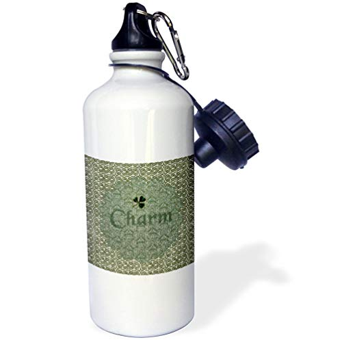 3dRose Beverly Turner St Patrick Day Design - Celtic Knots with Shamrock on Doily and The Word Charm - 21 oz Sports Water Bottle (wb_211524_1)