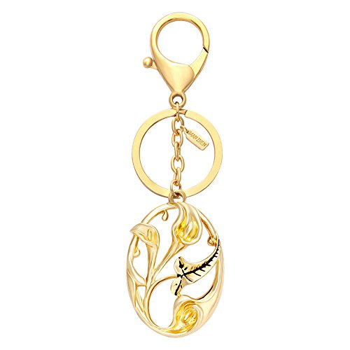 (MANZHEN Accessories Gold Tone Calla Lily Flowers Car Key chain Key Jewelry Keyring Bag Key Holder Decorations for Girls)