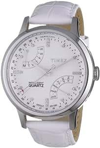 Timex T2N567 - Reloj analógico de cuarzo para mujer con correa de piel, color blanco