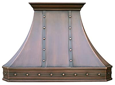 H3STR Copper Kitchen Hood with Decorative Straps and Hammered Rivets, Handcrafted by Sinda Artisan, Comes with High Air Flow Motor Fan