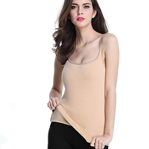 YUYUGO Woman Thermal Underwear Tops Basic Camisoles Thick Fleece Lined Tank Top Vest