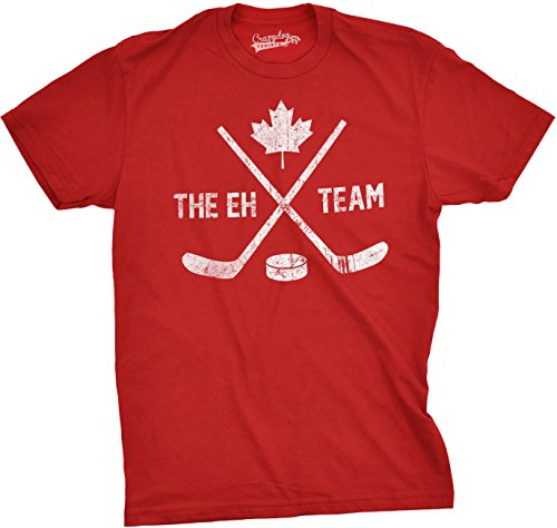 Mens The Eh Team Canadian Hockey Sticks and Puck Sporting T Shirt (Red) - Red Dog Hockey