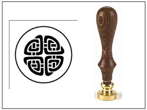 Wax Seal Stamp with Brown Wood Handle and Round Die-Celtic Knot - Celtic Handle