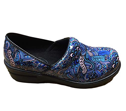 (Savvy Women's Slip Resistant Nursing & Professional Slip On Clogs (9, Brandy Blue Mardi Gras))