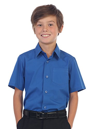 Gioberti Boy's Short Sleeve Solid Dress Shirt, Royal Blue, -