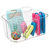 mDesign Small Office Storage Organizer Utility Tote Caddy Holder with Handle for Cabinets, Desks, Workspaces - Holds Desktop Office Supplies, Gel Pens, Pencils, Markers, Staplers - Clear