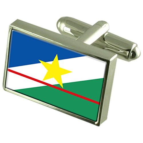 Roraima Sterling Silver Flag Cufflinks in Engraved Personalised Box by Select Gifts