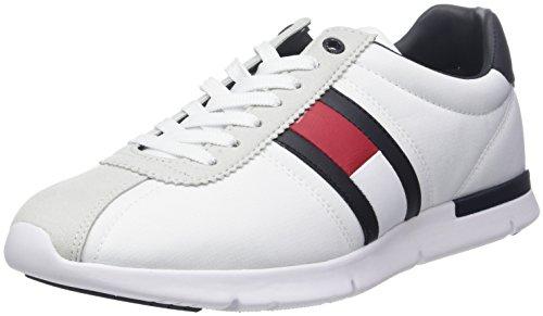 Basse Tommy Bianco Sneaker Uomo da Hilfiger 100 White Ginnastica Lightweight Scarpe Retro 0qrfp01