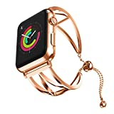 Compatible for Apple Watch Strap 44mm, SUKEQ 2018 Newest Released Vintage Stainless Steel Beaded Bracelet Metal Replacement Watch Band iWatch Wristband Bangle for Apple Watch Series 4 44mm (Rose Gold)