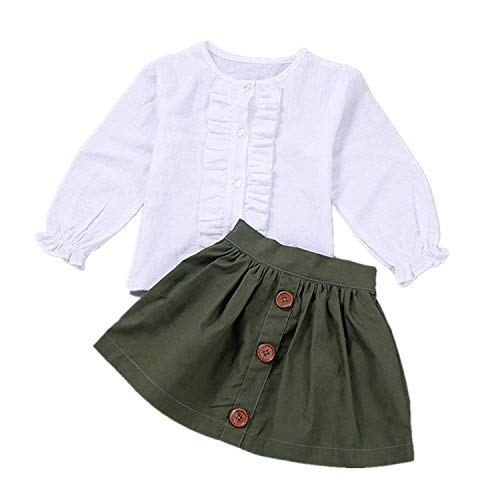 Little Girls 2 Piece Clothes Set Kids Fall School Oufits Ruffles Clean White Shirt Buttons A-line Skirt Set (Army Green Skirts + White Blouse, 3T for 3 Years Old) for $<!--$12.98-->