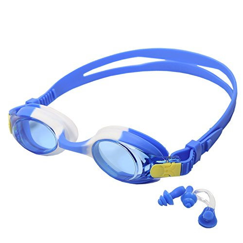 Kids Swim Goggles,Padida Swimming Goggles No Leaking Clear Vision, UV Protection,Anti-Fog , with Free Protection Case ,Nose Clip&Ear Plugs ,Special Designed for Kids Child
