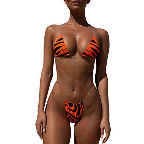 BeautyShe Women's Zebra Triangle Sunflower Swimwear Two Piece Swimsuit Pin up Tummy Control Tankini Swimdress Orange