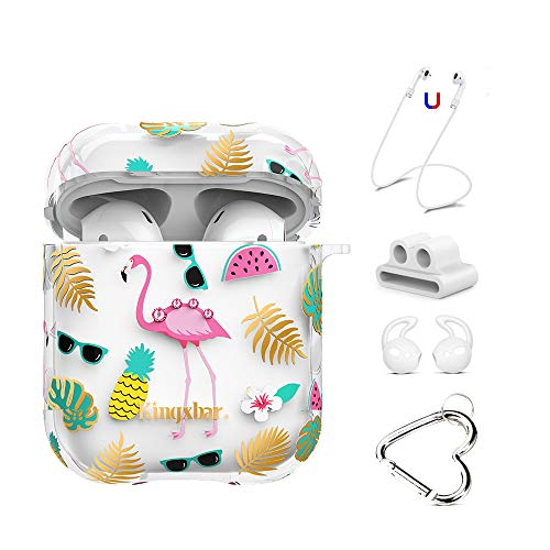 (AirPods Case Cover 5 in 1 Charging Case with Bling Crystal from Swarovski for Apple AirPods 2 & 1 Protective Flamingo Design Hard PC Case with Keychain/Strap/Earhooks/Watch Band Holder by KINGXBAR)