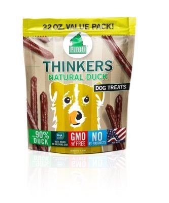 Plato Dog Treats Thinkers Natural Duck net wt 22oz