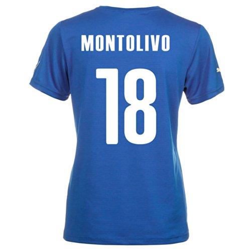マンモスサージ預言者Puma MONTOLIVO #18 Italy Home Jersey World Cup 2014 (Women)/サッカーユニフォーム イタリア ホーム用 ワールドカップ2014 背番号18 モントリーヴァ レディース