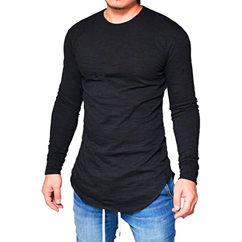 Katesid Men's Long Sleeve Hipster Hip Hop Swag Curved Hem T Shirt (US XL/Tag XXL, Black)