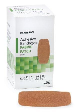 McKesson - Adhesive Strip McKesson 2 X 4 Inch Fabric Rectangle Tan Sterile - 50/Box - McK