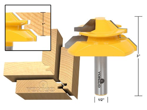 Yonico 15122 Large Lock Miter Router Bit with 45-Degree and