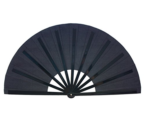 Folding Fan Performance Fan Nylon-Cloth Fan 13 inch (Black)