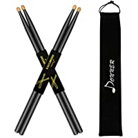 Donner Black Drum Sticks 5A Classic Maple Wood 2 Pair...