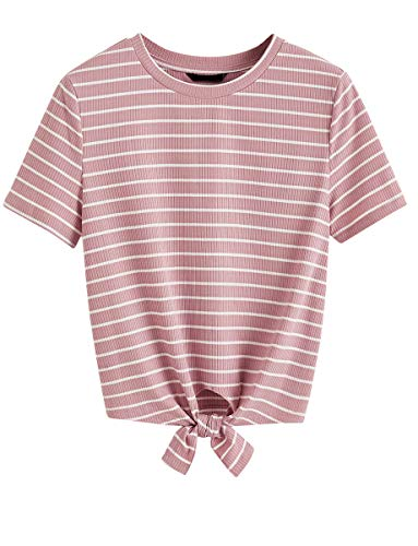 Romwe Women's Short Sleeve Tie Front Knot Casual Loose Fit Crop Tee T-Shirt Pink S