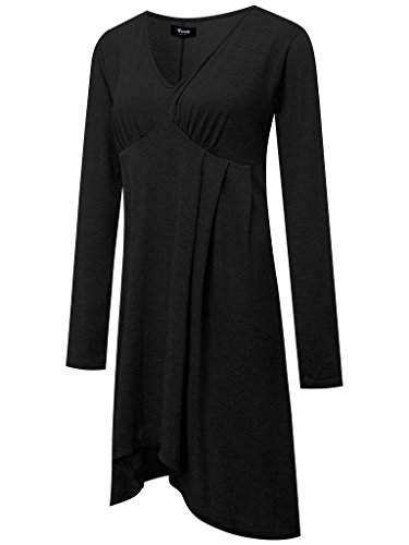 Wantdo Mujer Camiseta Vestido Básico Fino De Manga Larga Color Puro Cuello Redondo Negro 2