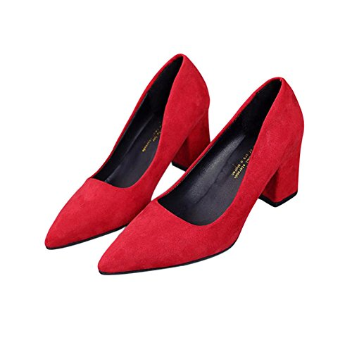 Zhuhaixmy Fashion Women Shallow Mouth Pointed 7-9CM Mid High Heels Single Shoes Red 7CM QtbaK