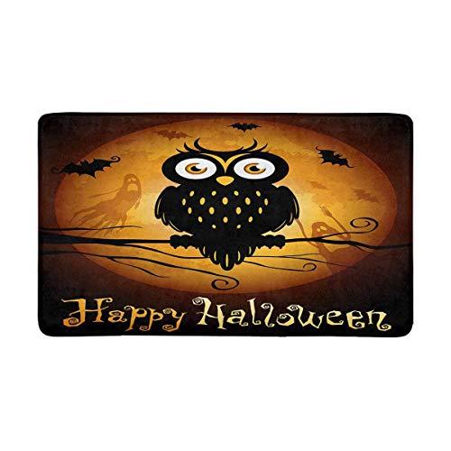 INTERESTPRINT Halloween Owl Silhouette on Moon Doormat Non Slip Indoor/Outdoor Floor Door Mat Home Decor, Entrance Rug Rubber Backing Large 30