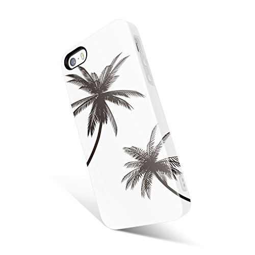 iPhone 5 / 5s /SE case for girls, Akna Get-It-Now Collection High Impact Flexible Silicon Cover for iPhone5/5s/SE [Black Palm Trees](592-U.S) (Iphone 5s Palm Tree Case)