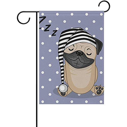 Sleeping Pug Dog Pattern Double-Sided Garden Flag 12 x 18 Inch Decor Yard Flag for Outdoor Lawn and Garden Home