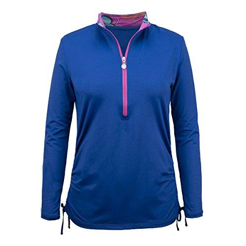 UV SKINZ UPF50+ Womens Long Sleeve Half Zip Ruched Sun Shirt-Navy Blue/Ribbon Bloom-S