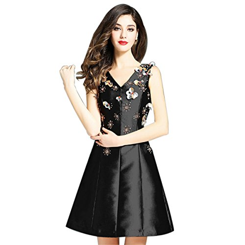 China Palaeowind Spring And Summer Female Fashion Bead Piece A Word Dress Dress Dress Dress,Black-S by China palaeowind