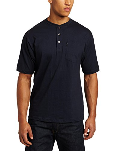 Key Apparel Men's Short Sleeve Heavyweight 3-Button Pocket Henley, Navy, XX-Large-Regular