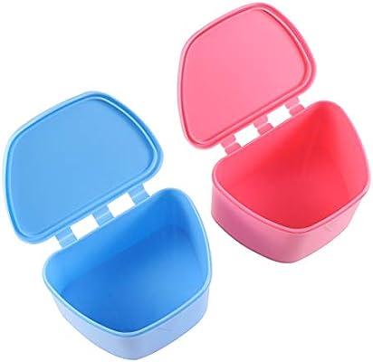 Healifty Caja de almacenamiento de prótesis dental con tapa de dentadura portátil Caja de retenedor dental ortodóntico 2pcs (azul y rosado): Amazon.es: Salud y cuidado personal