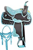 AceRugs Blue Western Saddle Set 10 12 13 Youth Kids Horse Pony TACK Package Synthetic Bridle REINS Breastplate PAD