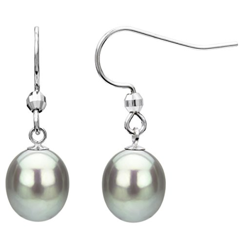 Brown Tahitian Pearl Earrings (Sterling Silver 9-10mm Dyed Brown Long Shape Freshwater Cultured Pearl Wire)