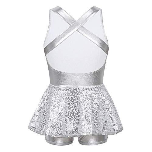 Freebily Kid Girls Jazz Modern Tap Dress Lyrical Dance Costume Shiny Sequined Criss Cross Back Leotard Skirted Dancewear #White 14