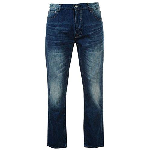 Firetrap Rom Herren Jeans Freizeit Denim Hose Jeanshose Straight Fit Baumwolle Blau 30W S