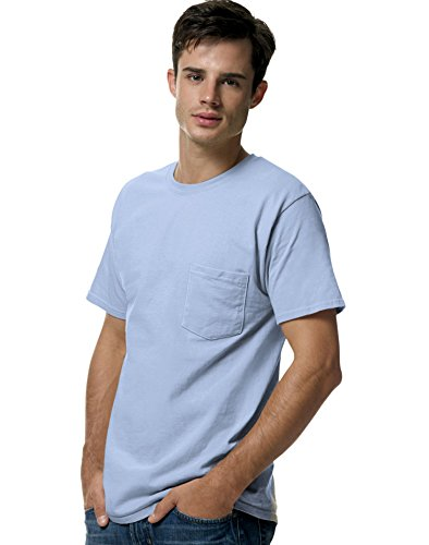(Hanes Heavyweight Tagless Pocket Tee, Light Blue, XX-Large )