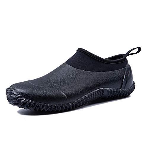 SYLPHID Unisex Waterproof Garden Shoes Womens Neoprene Rain Boots Mens Car Wash Footwear (12 M US Women/10.5 M US Men, Black)