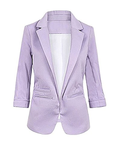 Lihuang Women's Cotton Rolled Up Sleeve No-Buckle Blazer Jacke