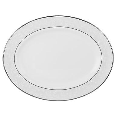 Lenox Opal Innocence Platinum Banded Bone China 13 Oval Platter