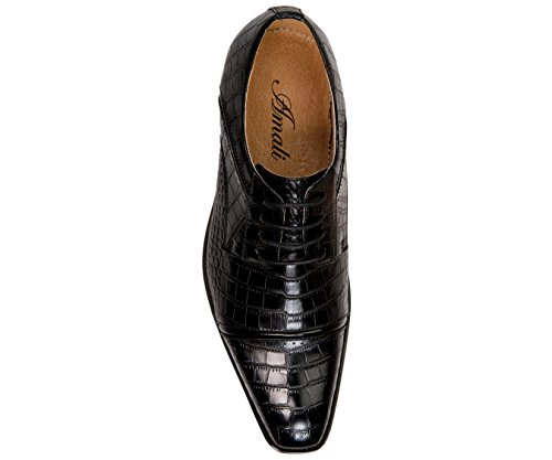 Amali Mens Oxford Dress Shoes with Zig Zag Stitching and Exotic Crocodile Designs Styles Tomaso, Eberly Black/Croco-print