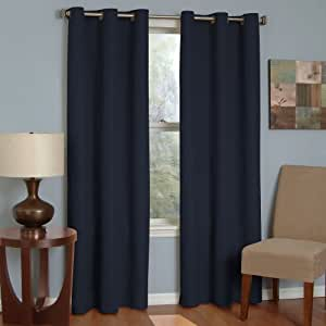Eclipse 10708042X063NVY Microfiber 42-Inch by 63-Inch Thermaback Grommet Blackout Single Window Panel, Navy