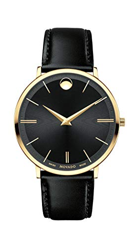 Movado Men's Ultra Slim Yellow Gold Watch with a Printed Index Dial, Black/Gold (Model 607087) (Movado Slim Watch)