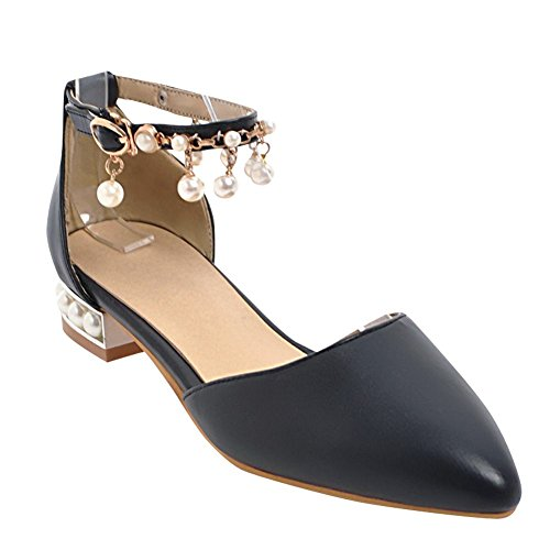 Mee Shoes Women's Dolly Buckle Block Heel Court Shoes Black WgXf7dq