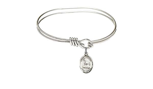 DiamondJewelryNY Eye Hook Bangle Bracelet with a St Joshua Charm.