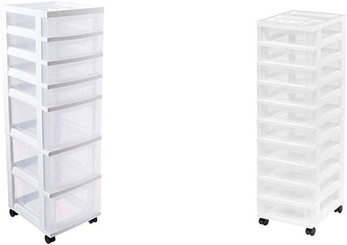 IRIS USA, Inc. 116842 IRIS 7-Drawer Storage Cart with Organizer Top, White with IRIS 10-Drawer Rolling Storage Cart with Organizer Top, White